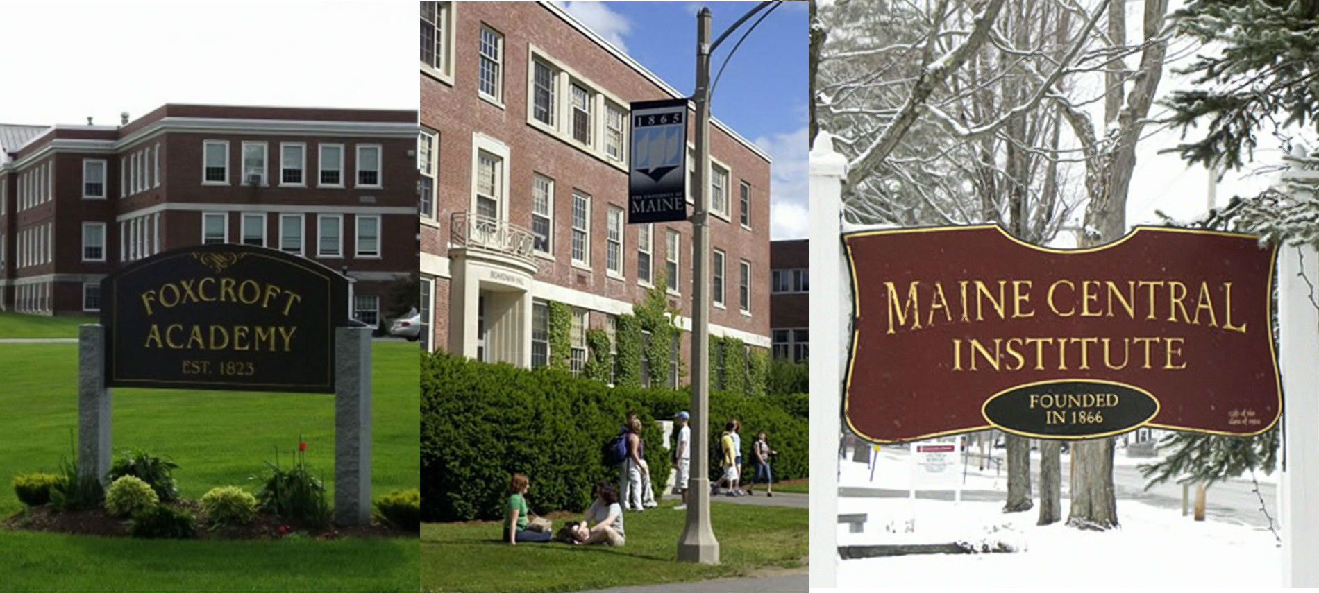 Collage of three buildings with signs: Foxcroft Academy and Maine Central Institute.